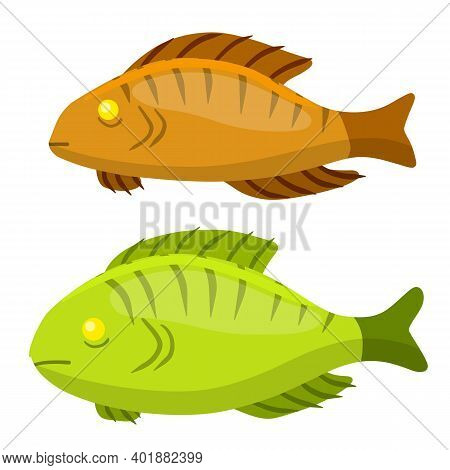 Set Of Fish. River Yellow And Green Animal With Scales, Fins And A Tail.