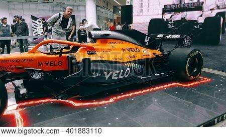Minsk, Belarus - 27 September 2020: Demonstration Show Mclaren Racing Car Bolide On Display Formula1