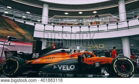Minsk, Belarus - 27 September 2020, Shopping Center Hall: Demonstration Show Mclaren Racing Car Boli