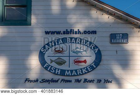 Usa, California, Santa Barbara - December 18, 2020: Logo With Name And Seafood Images On Wall Of San