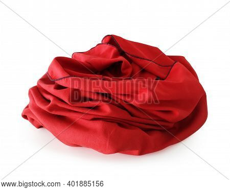 Front View Of Wrinkled Red Beach Or Bath Towel Isolated On White Background. Red Folded Microfiber C