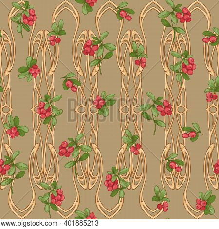 Cranberry In A Decorative Imitation Of A Wicker Basket Made Of Twigs. Seamless Pattern, Background.