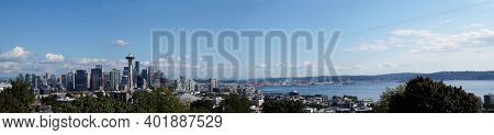 View From Kerry Park (public Park And Viewpoint On The South Slope Of Queen Anne Hill In Seattle). W