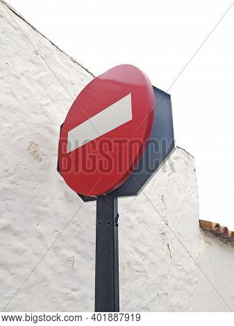 Down Angle View Of Traffic Red Sign With White Rectangle Entry Is Prohibited, Icon For Prohibiting T