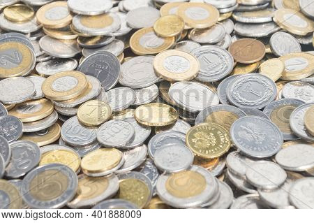 Lots Of Pln, Polish Zloty Coins As Background.