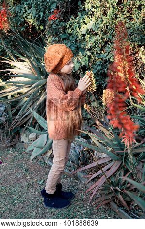Beautiful Cute Little Girl In A Brown Beret And A Sweater Looks Towards The Orange Aloe Flowers. Pai