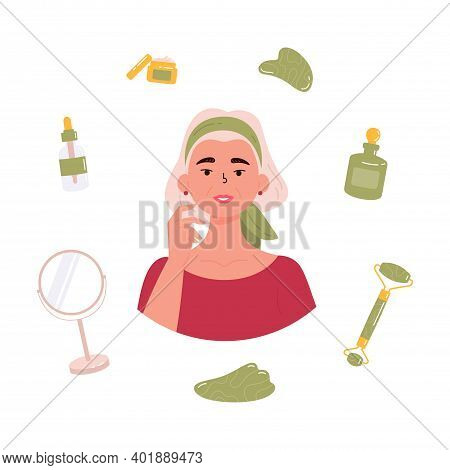 Old Beautiful Woman With Bottle Of Face Serum, Facial Gua Sha Stone, Roller, Mirror, Cream. Facial Y