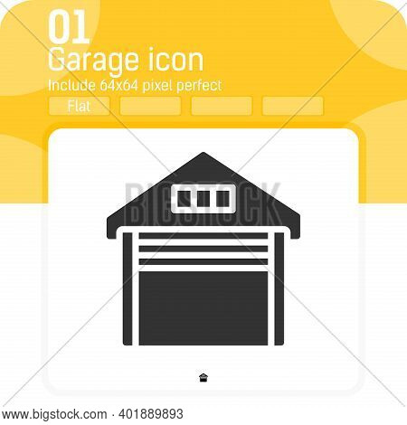 Garage Icon With Flat Style Isolated On White Background. Vector Illustration Garage Object Sign Sym