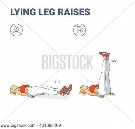 Lying Leg Raises Female Home Workout Exercise Guidance. Young Athletic Girl Raising Both Legth Lying