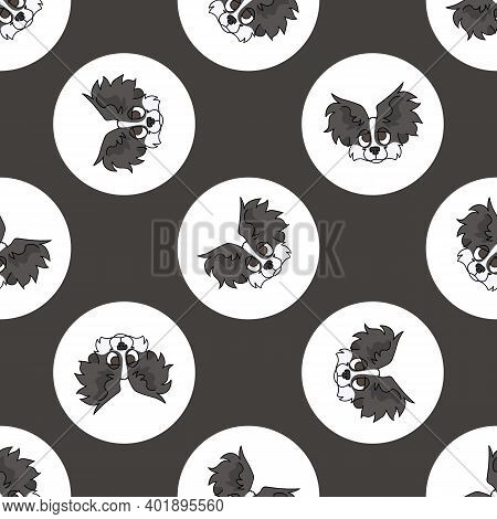 Hand Drawn Cute Papillon Dog Face Breed In Polka Dot Seamless Vector Pattern. Purebread Pedigree Pup