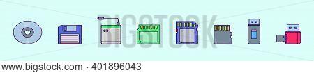 Set Of External Storage Cartoon Icon Design Templates With Various Models. Modern Vector Illustratio