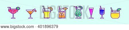 Set Of Cocktail Cartoon Icon Design Templates With Various Models. Modern Vector Illustration Isolat