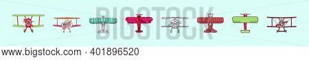 Set Of Biplane Cartoon Icon Design Templates With Various Models. Modern Vector Illustration Isolate