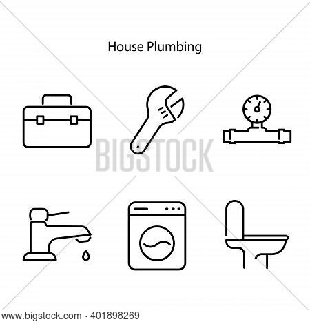 Plumbing Line Icons Set. Bath Pipes, Water, Toilet Drain, Tap. Thin Icon Collection For Housekeeping