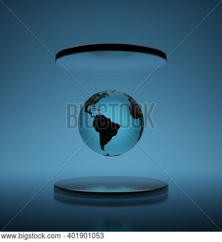 Earth globe is levitating in the air between silver pedestals, over dark background. 3D render.