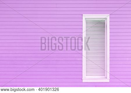 Window On Wooden Wall. Building Abstract Background