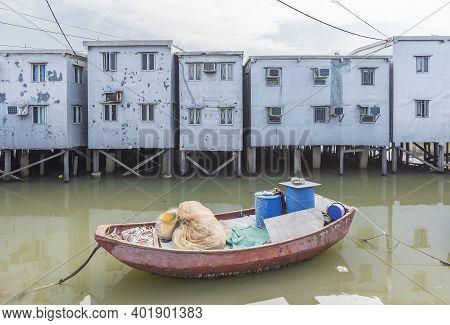 Residential Stilt House With Tin Siding In Tai O Village, Lantau Island, Hong Kong