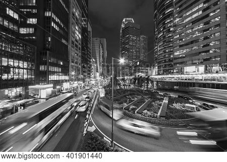 Traffic In Downtown Of Hong Kong City At Night