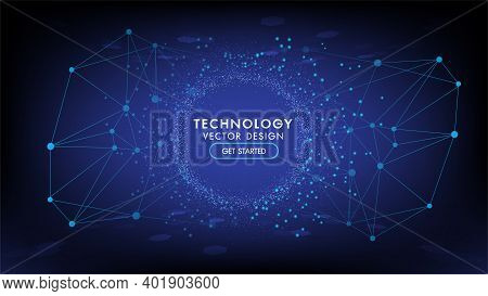 Abstract Technology Background Hi-tech Communication Concept, Technology, Digital Business, Innovati