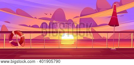 Cruise Liner Deck Or Quay On Dusk Seascape View, Empty Ship With Glass Baluster, Lifebuoy And Umbrel