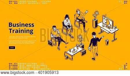 Business Training Banner. Conference, Seminar And Lecture For Professional Learning. Vector Landing