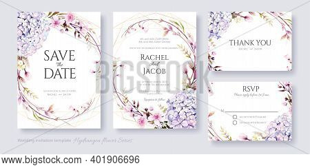 Wedding Invitation, Save The Date, Thank You, Rsvp Card Design Template. Vector. Hydrangea And Cherr