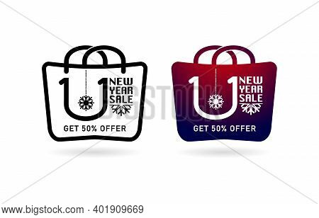Shopping Bag 1.1 Sale, Handbag 1.1 Online Sale, Set Of Sale Labels, Icons Shopping Bag And Handbag I