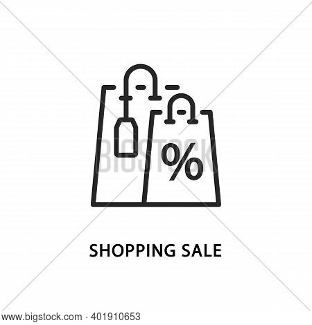 Shopping Sale Line Icon. Tags Labels And Packages Discount