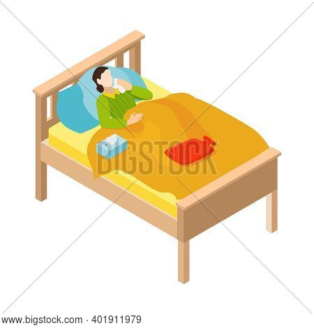 Isometric Cold Flu Virus Composition With View Of Bed With Lying Patient Got Cold Vector Illustratio