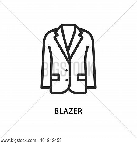 Blazer Flat Line Icon. Vector Illustration Men Clothes.