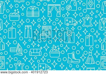 Dry Cleaning And Laundry Seamless Pattern With Flat Line Icons. White Symbol On A Blue Background