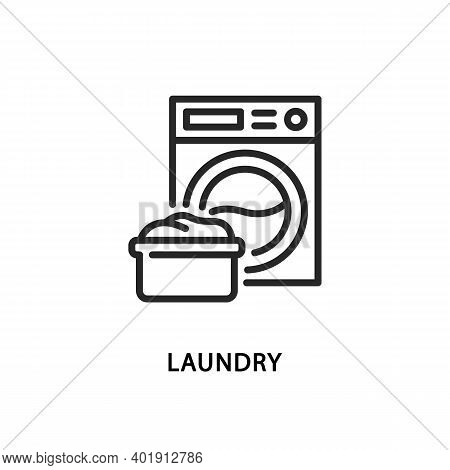 Laundry Flat Line Icon. Vector Illustration Washing Machine And Next To The Pelvis.