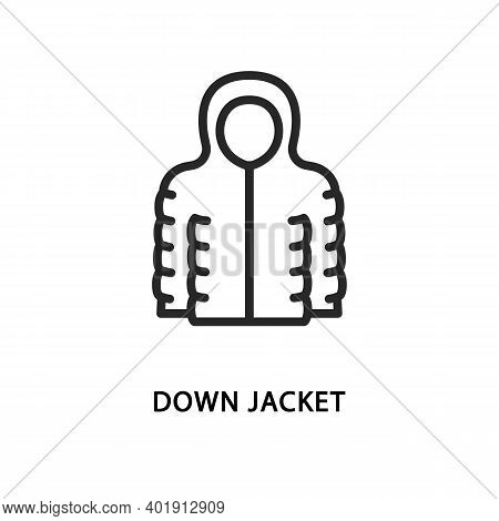 Down Jacket Flat Line Icon. Vector Illustration Winter Clothes.