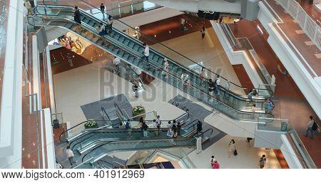 Kowloon Tong, Hong Kong 07 September 2020: Shopping mall with visitors wearing face mask during pandemic
