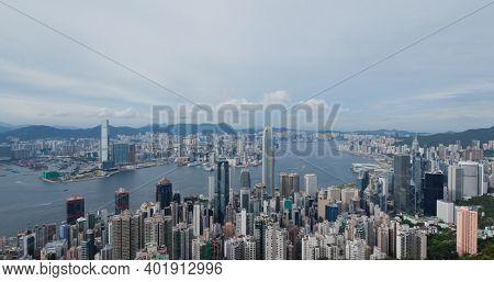 Victoria Peak, Hong Kong 15 July 2020: Hong Kong city skyline