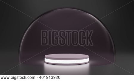 Mock-up Transparent Glass Dome. Dome Cover For Podium Exhibition, Protection Barrier. 3d Rendering.