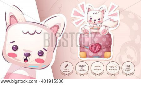 Cat, With Diplomat - Cute Sticker. Vector Eps 10
