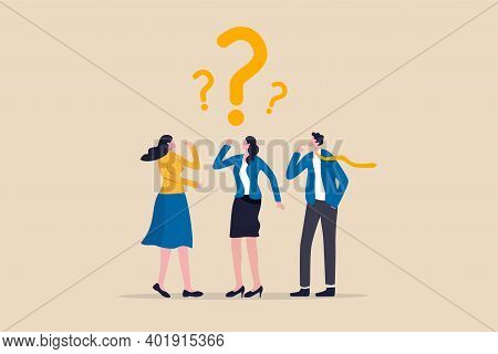 Confused Business Team Finding Answer Or Solution To Solve Problem, Work Question Or Doubt And Suspi