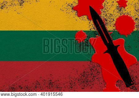 Lithuania Flag And Black Tactical Knife In Red Blood. Concept For Terror Attack Or Military Operatio