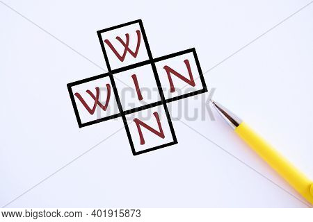 Win Win Text. Concept Meaning Of Or Denoting A Situation In Which Each Party Benefits In Some Way.