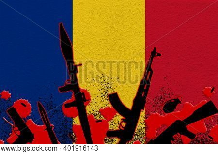 Romania Flag And Various Weapons In Red Blood. Concept For Terror Attack Or Military Operations With