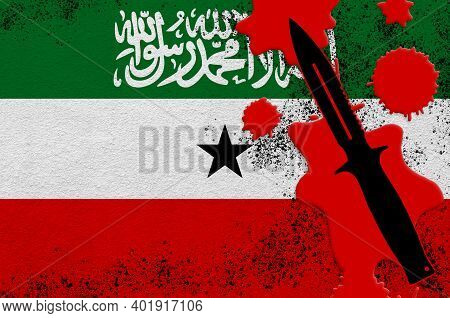Somaliland Flag And Black Tactical Knife In Red Blood. Concept For Terror Attack Or Military Operati
