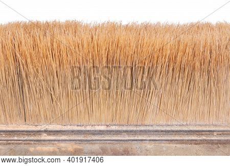 Close View Of The Bristles In A Paint Brush, Isolated