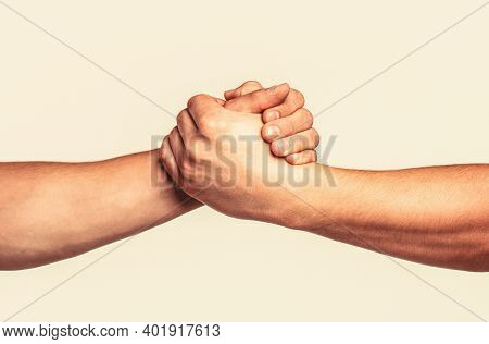Helping Hand Outstretched, Isolated Arm, Salvation. Friendly Handshake, Friends Greeting, Teamwork,