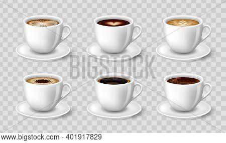 Black Coffee, Cappuccino, Latte, Espresso, Macchiatto, Mocha Side View. 3d Vector Illustration For M