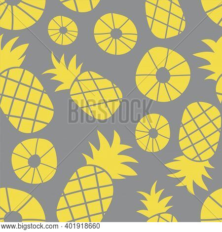 Pineapple Seamless Pattern. Hand Drawn Fresh Slice Of Ananas. Vector Sketch Yellow And Gray Backgrou