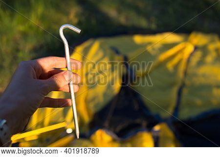 Aluminum Stakes For The Installation Of A Tourist Yellow Tent In The Hand Close-up. Lightweight Equi