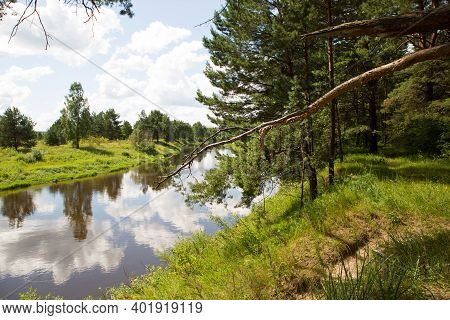 River In Summer On A Sunny Day, Green Grass And Forest. Reflection In The Water. Domestic Tourism, E