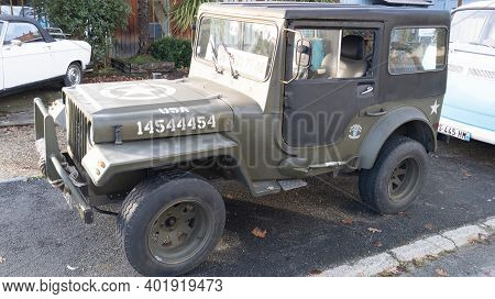 Bordeaux , Aquitaine  France - 12 28 2020 : Renault 4 R4 Dallas Replica Jeep Willys Like U.s. Army A
