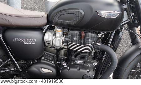 Bordeaux , Aquitaine  France - 12 28 2020 : Triumph Vintage Bonneville T120 Black Bonnie Motorcycle